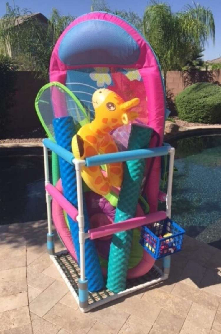 OneCrazyHouse pool storage storage area for wet pools toys made from PVC pipe and netting