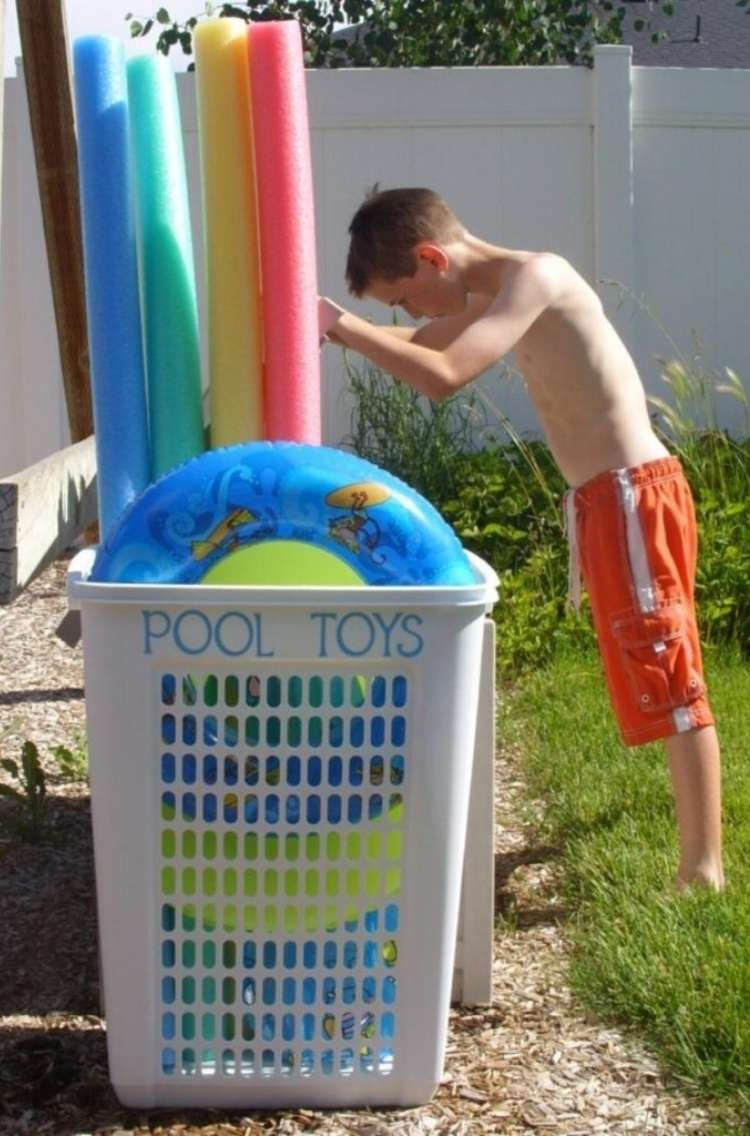 """OneCrazyHouse pool storage child putting away pool noodle in a hamper lablers """"Pool toys"""""""