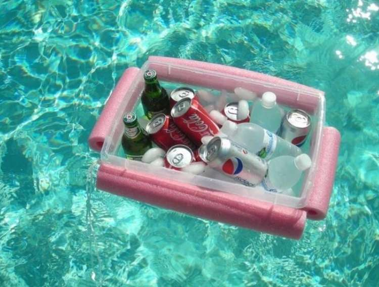 OneCrazyHouse pool storage plastic container with pool noodle secured around the top filled with ice and bottles drinks flooring in a pool