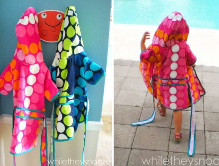 OneCrazyHouse pool storage collage image, 2 kinds hooded robes hanging from hook, child walking away from camera wearing hooded robe for pool