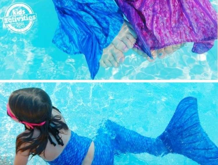 OneCrazyHouse pool storage child wearing mermaid tail in pool
