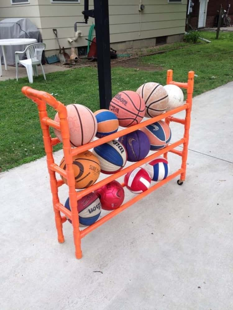 DIY PVC rack to hold your balls