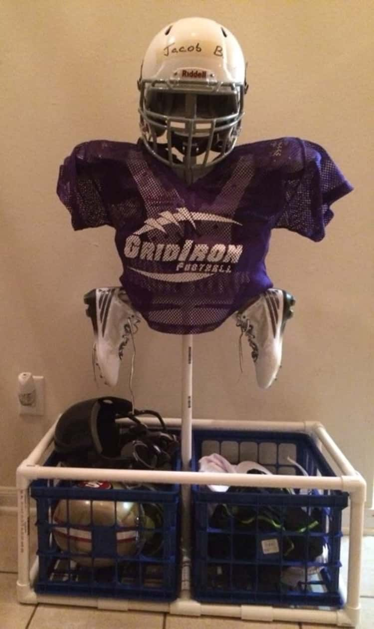 Make a PVC stand for your football equipment
