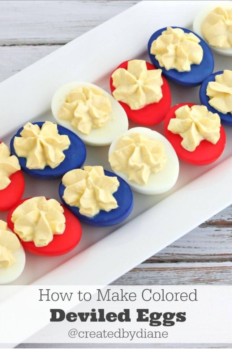 Deviled eggs dyed so they are red, white, and blue - a twist on a classic 4th of July food