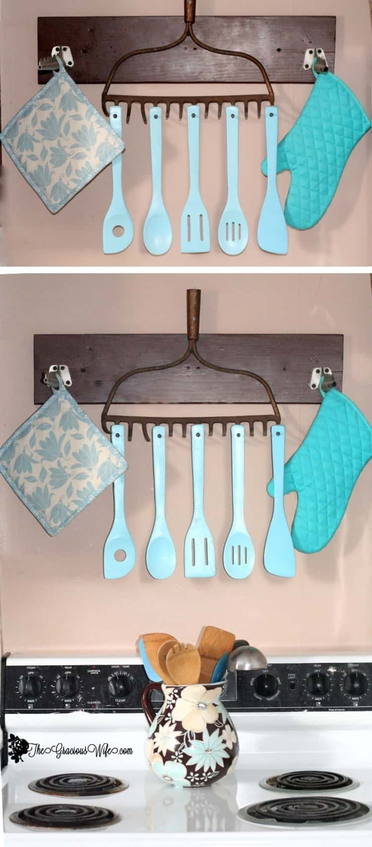 an old rake turned into a utensil holder with blue spoons hanging on it and potholder on either side, above a white stove