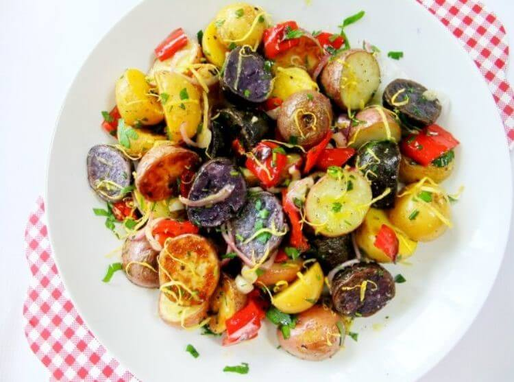 A 4th of July Food Idea - Red, white, and blue potato salad