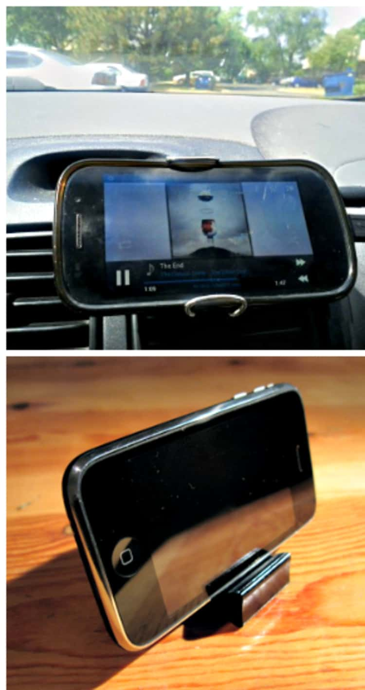 Mount your phone in your car and on the desktop using file binder clips