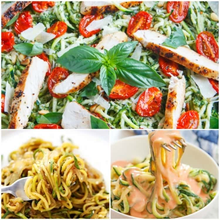 3-photo collage of pesto Zucchini Noodles with Roasted Tomatoes and Grilled Chicken, spiralized zucchini, and spiralized zucchini in a sauce.