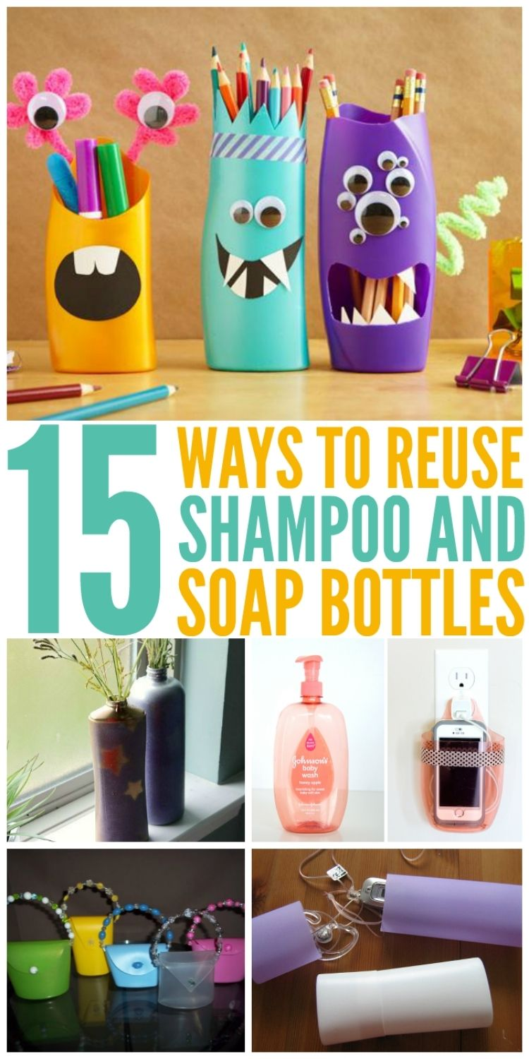 Creative collage of unique ways to reuse shampoo bottles including monster themed pencil holders, vases, cell phone holder, and play purse.