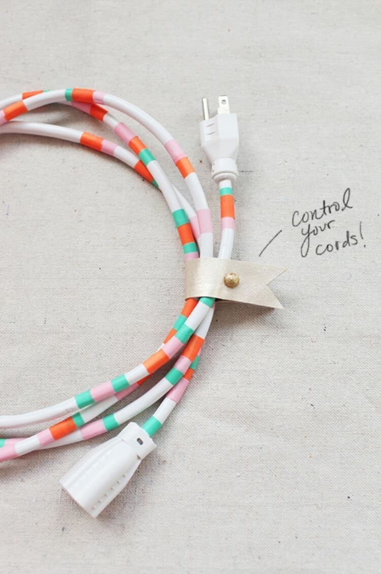 Power cord decorated in washi tape