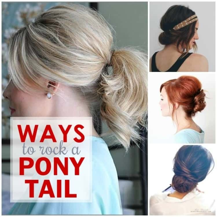 Quick and Easy Hairstyles for Moms - including different ways to wear a pony tail; a chignon bun, a tuck and cover and an elegant bun