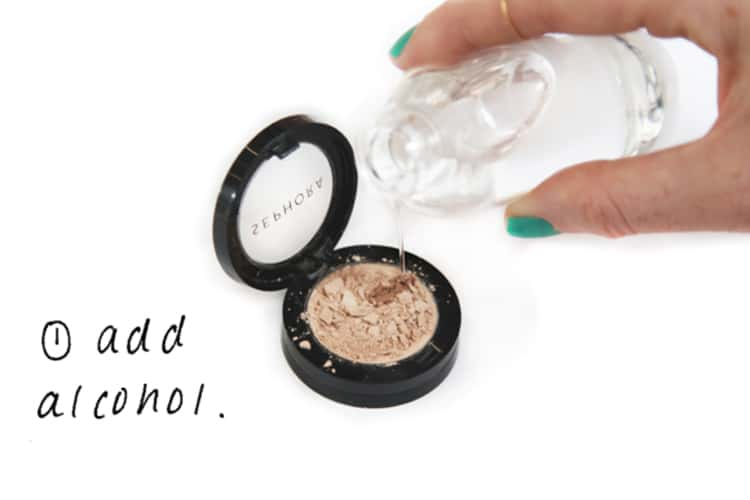 Add rubbing alcohol to broken makeup to restore it