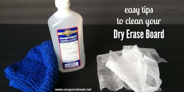 Wash off stains from the dry erase board using isopropyl alcohol