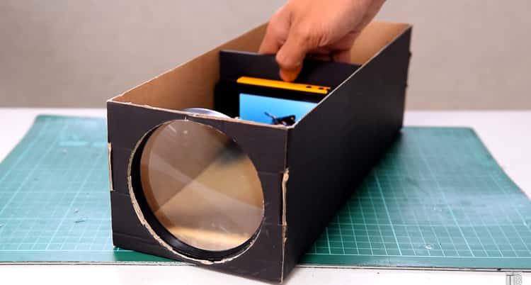 Phone Projector That is Made From A Shoebox and a Few Office Supplies