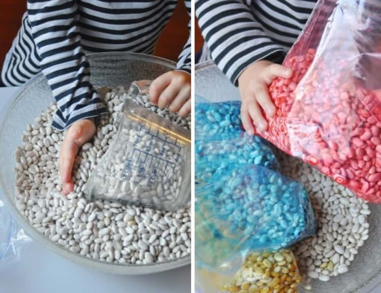 Making colored beans with different scents for sensory teaching