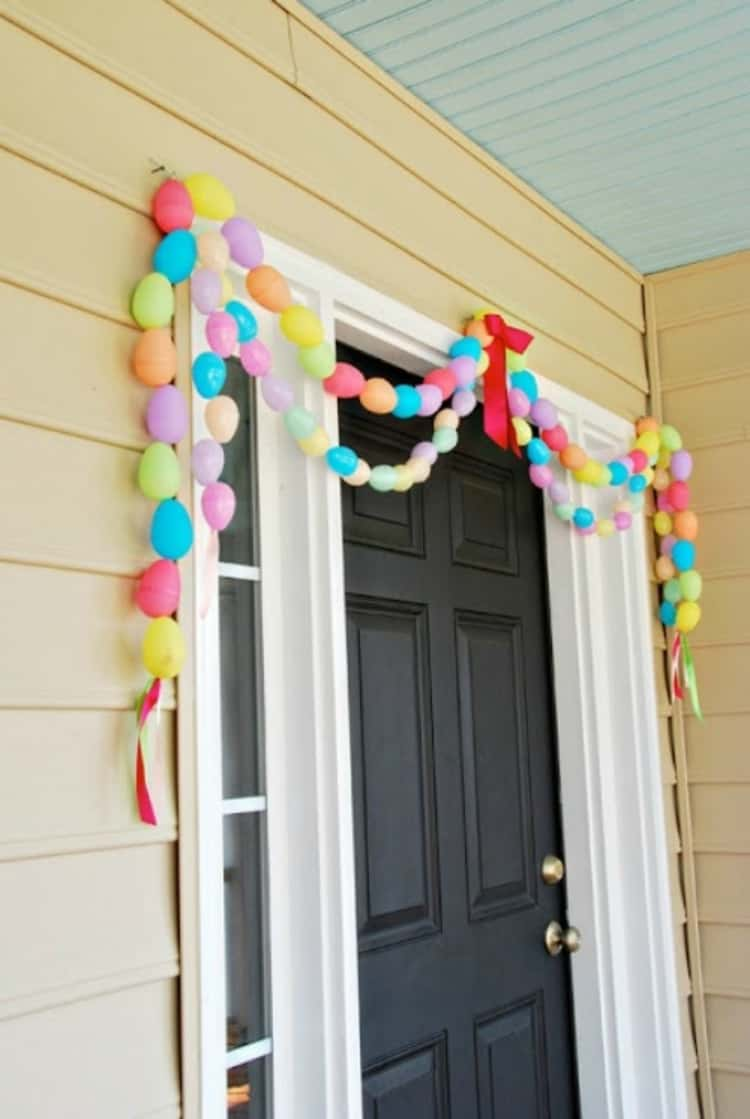Decorative Multicolor Balloons on the Front Porch Door to Make Egg Garland