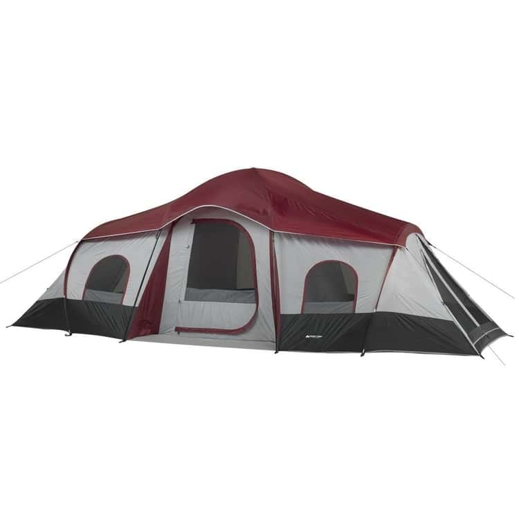 An eight person capacity maroon ozark tent just for your family