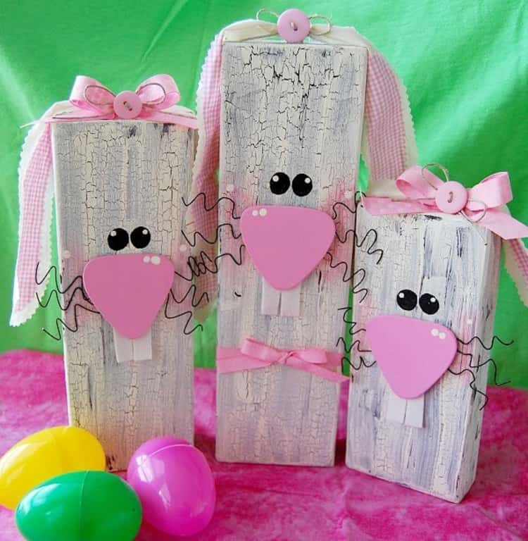 Wooden Bunny Blocks For Easter Decorations
