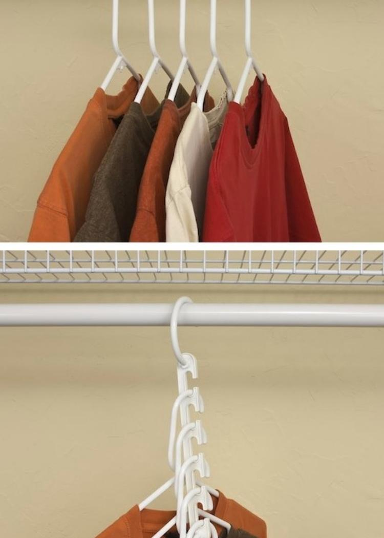 This wonder hanger is just what every small closet needs to create more space! Hang several shirts on one. Neat idea for small closet spaces.