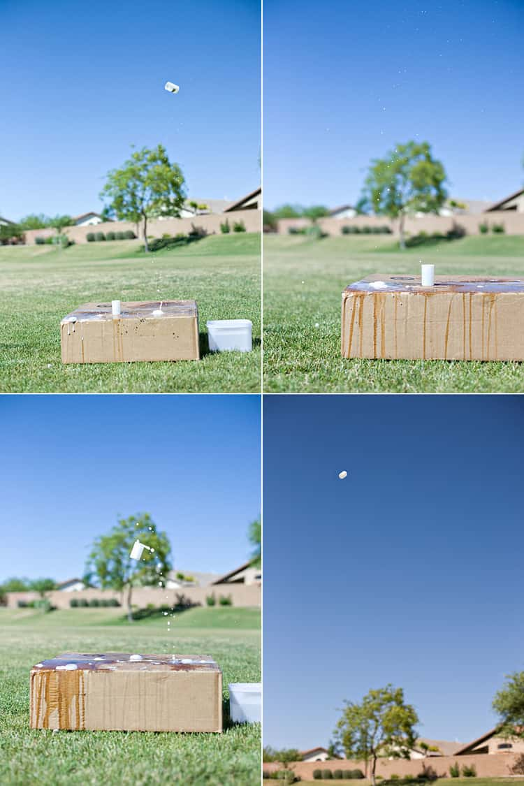 A photo collage illustrating the making of film canister rockets using water and alka-seltzer