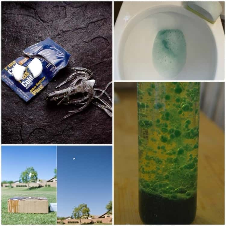 A 4 photo collage of different ways to use alka-seltzer: using the antacid to catch fish, to clean a toilet bowl, to make film canister rockets and to make a DIY lava lamp