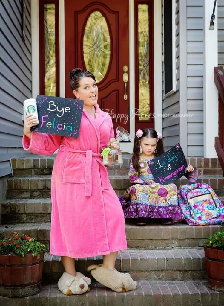 """back to school photo ideas - mom holding sign that says """"bye Felicia"""" and an unhappy child sitting on the steps"""