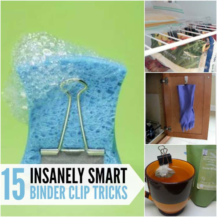 15 insanely smart binder clip tricks; collage of drying sponge, fridge orgainzer, gloves hanging in close and teabag all mounted on binder clips