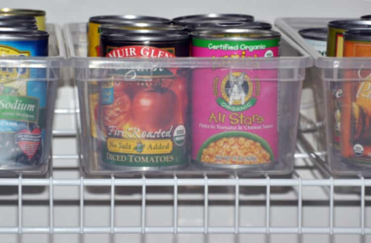 dollar store bins storing canned coods