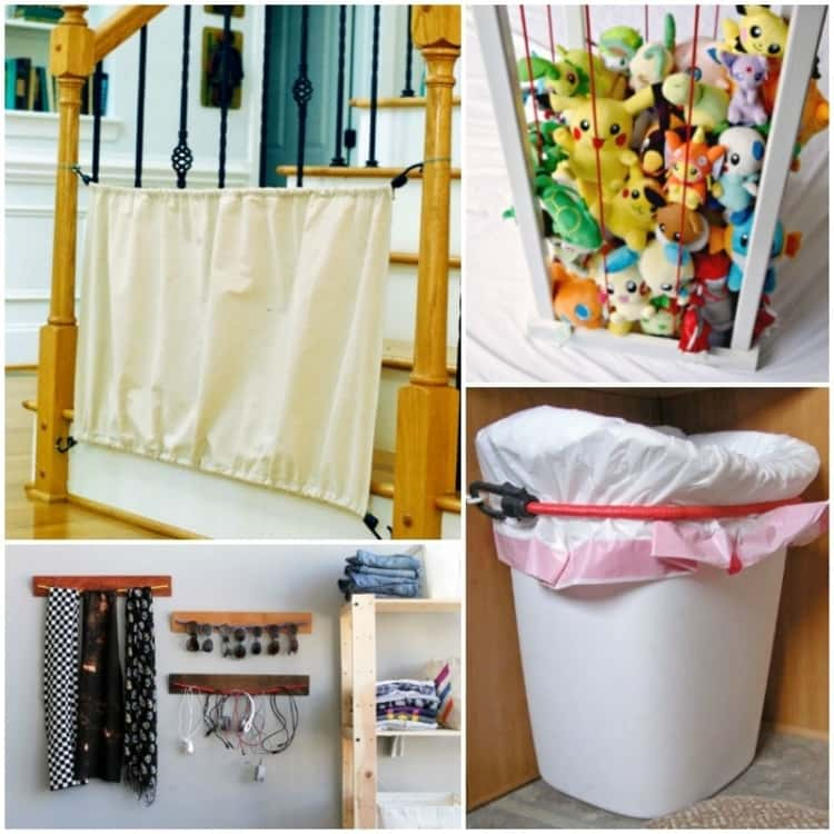 4-photo collage of bungee cord uses - accessories organizer, stuffed animals zoo, short-term baby gate and holding trash can in place