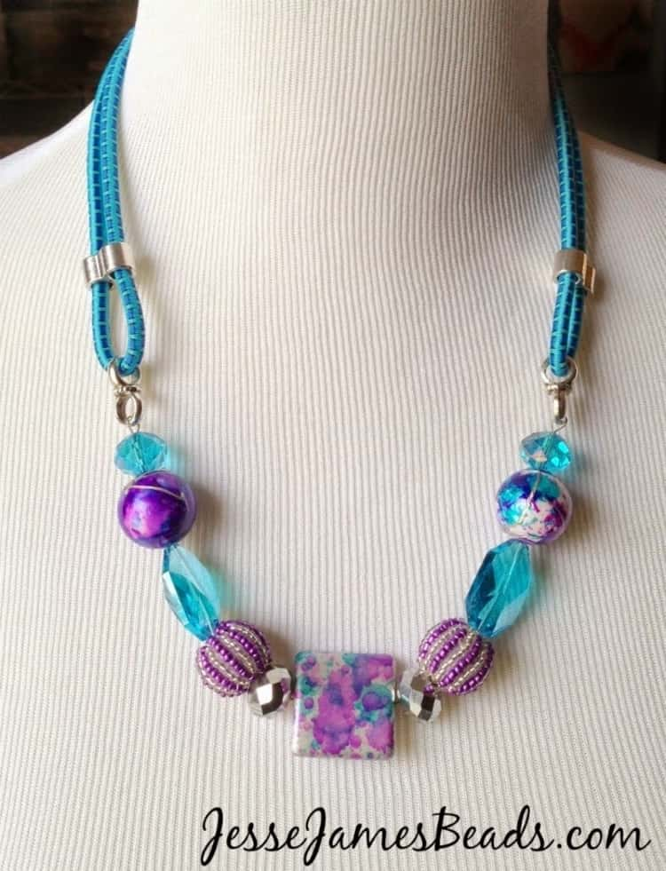 summer jewelry made using a bungee cord