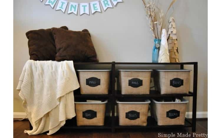 Make great decorative baskets out of cheap Dollar Store bins