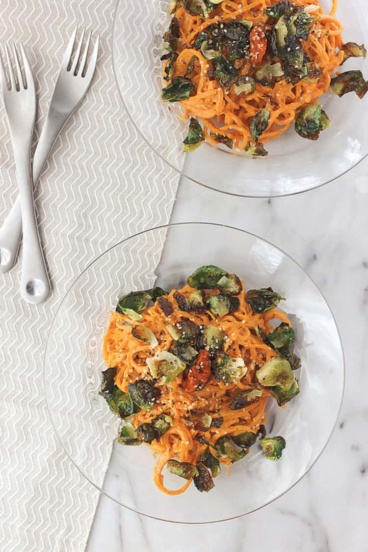 Spiralizer recipe - 2 plates of Butternut Squash Noodles