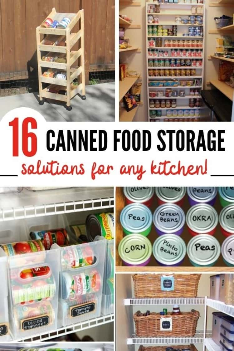 canned food collage with bins, baskets, drawers, shelves in back of pantry, rotating shelves