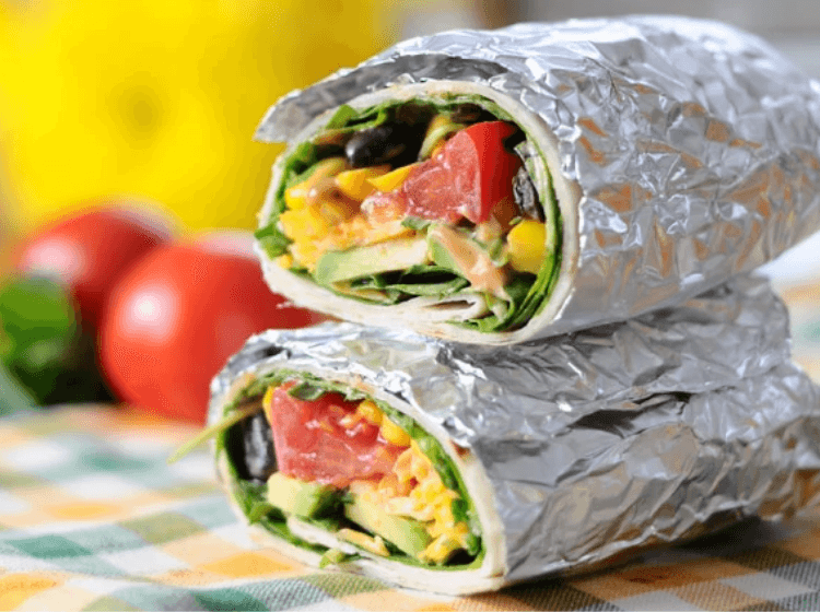 Southwestern Veggie Wrap with Creamy Smoke Dressing wrapped up in foil for a no cook dinner