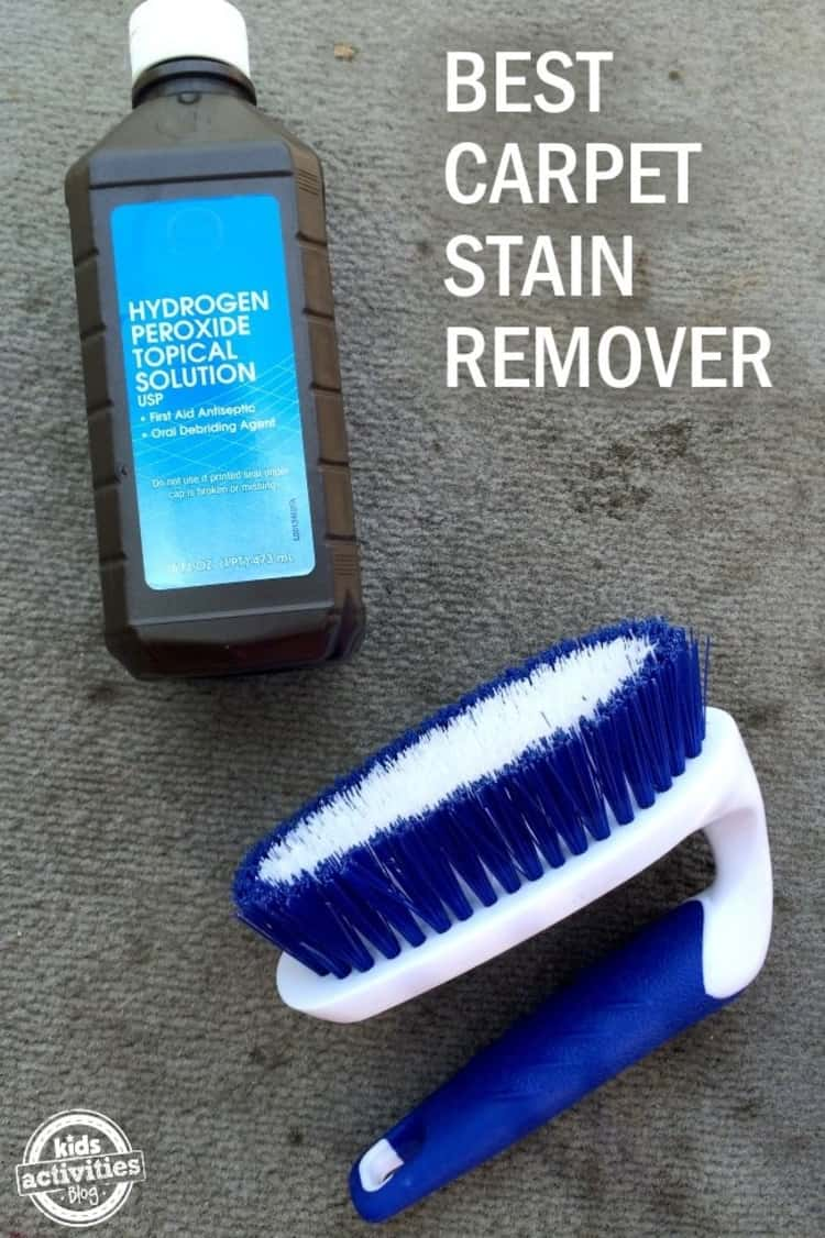 stain removal - bottle of hydrogen peroxide topical solution and scrubbing brush on carpet with the caption BEST CARPET STAIN REMOVER