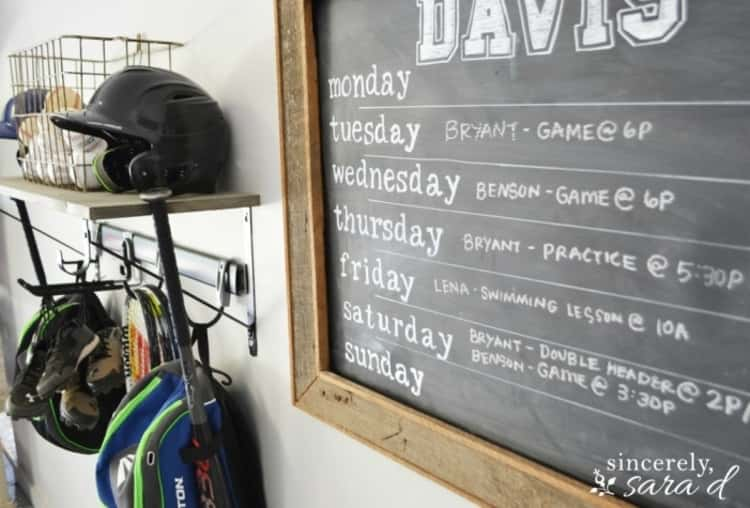 Chalkboard schedule to remember sporting activities