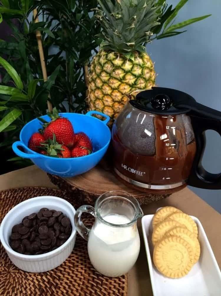 Chocolate fondue in coffee maker