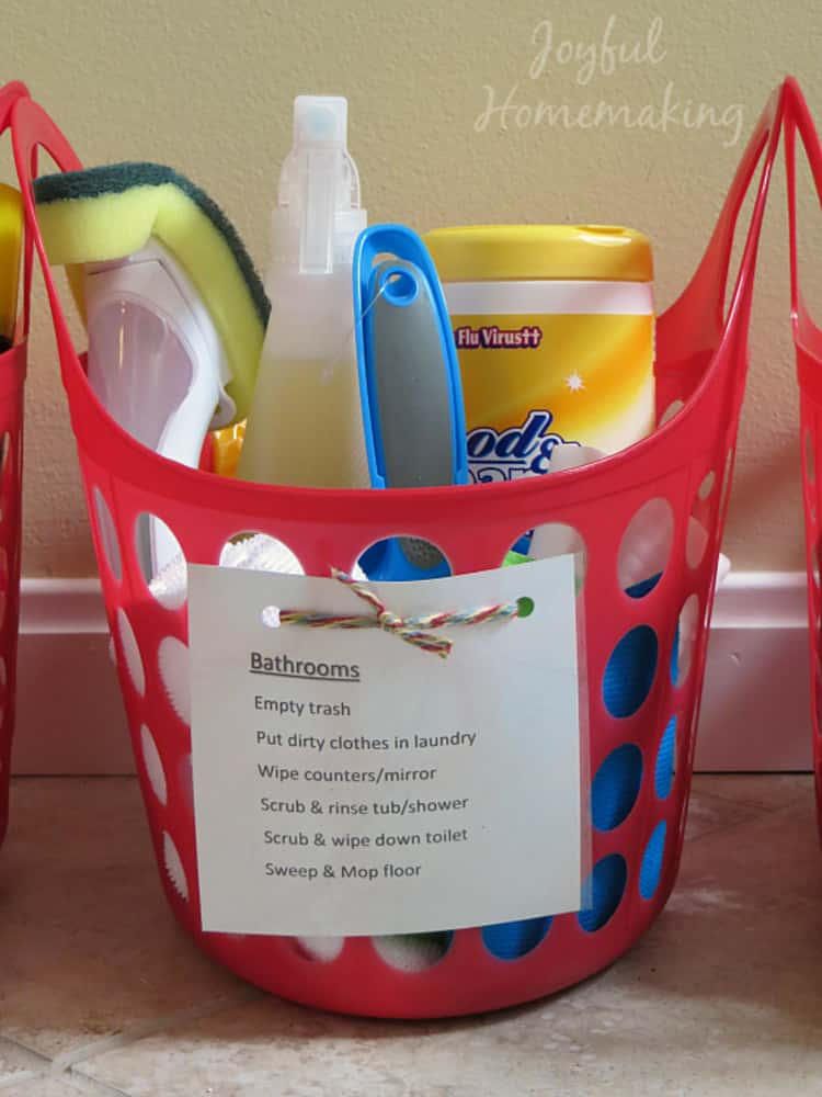 Chore baskets for general cleaning day