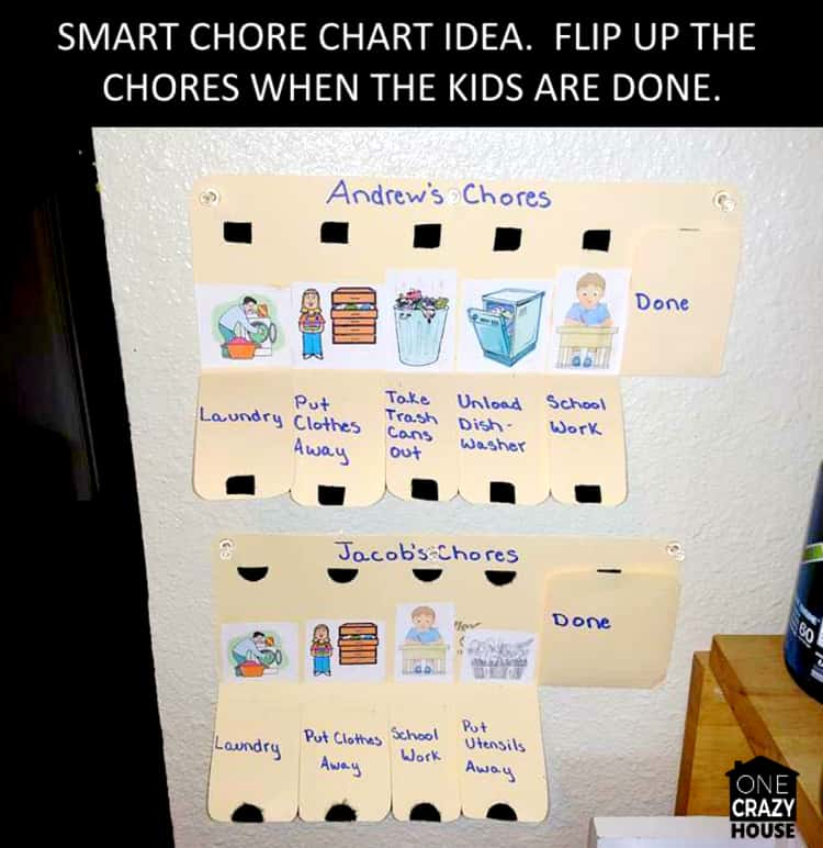 A DIY homemade smart chore chart idea that you can flip up the chores when the kids are done.