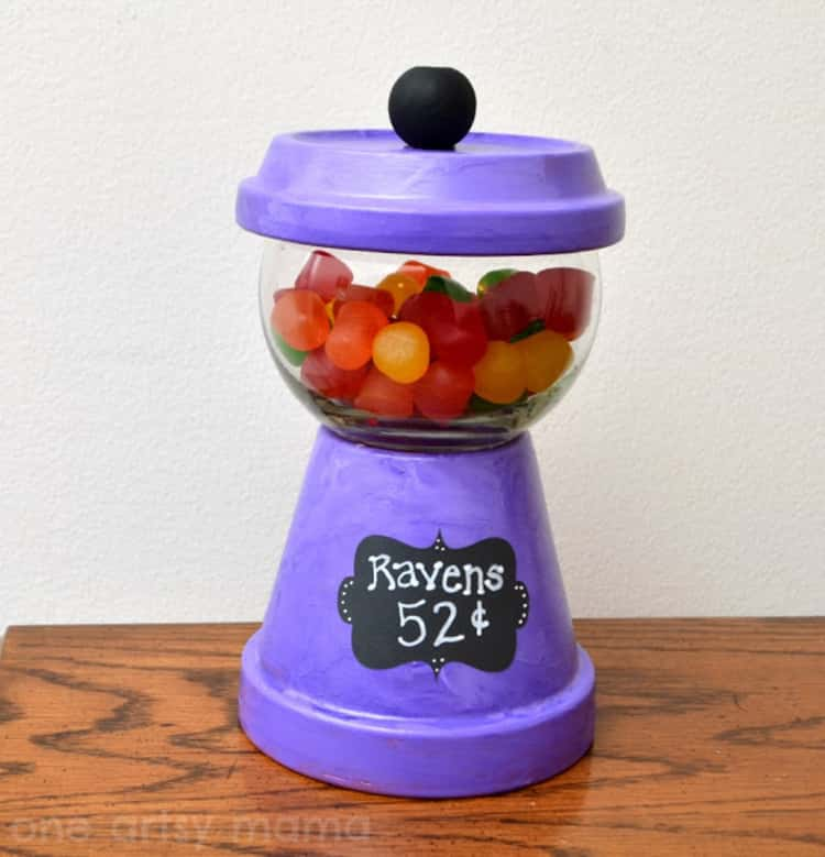 A gumball machine-inspired candy holder made from a flower pot. How cute!