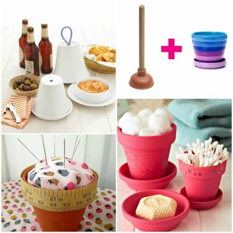 A collage of all the ways to use flower pots there are- they can be used as covers for dishes and dips during parties, as a plunger holder, as a pincushion for all your pins and needles or as pretty bathroom organizers to hold your soaps, products and q-tips!