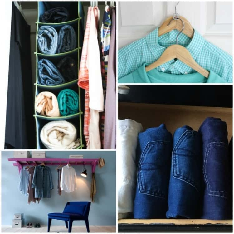 collage of jeans and sweaters stored in hanging shoe cubby in closet, two clothing hangers connected by soda can tab, ladder horizontally affixed to wall, creating a shelf and hanging space for clothes storage, folded jeans filed away in drawer