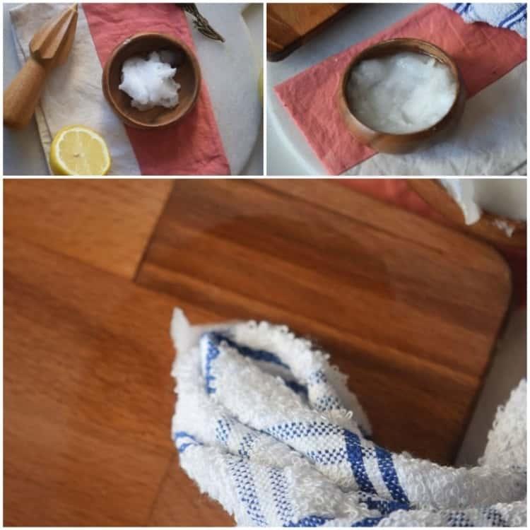 coconut oil collage wood bowls, towel, cutting board, lemon half