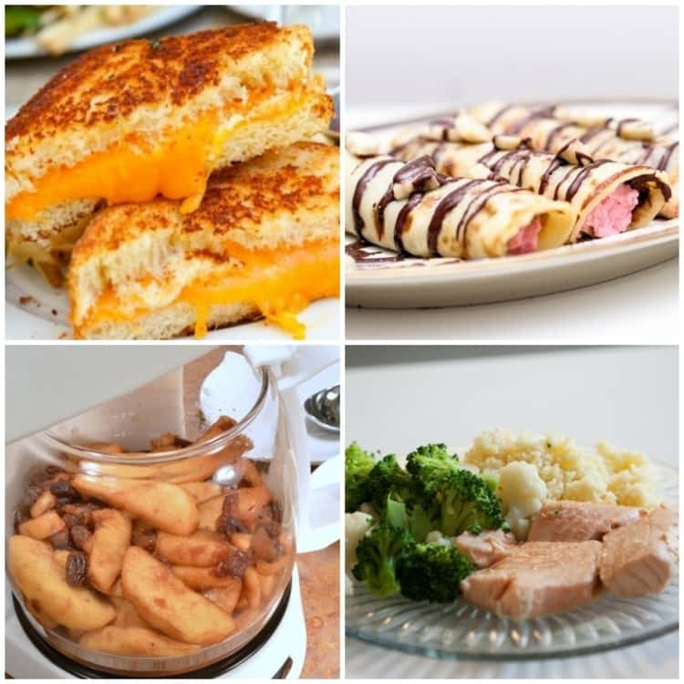 Coffee maker recipes; collage of grilled sandwich, nutella pancakes, boiled apples and steamed salmon