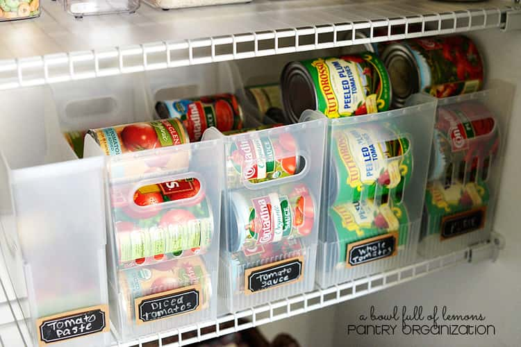 clear container store upright shelves stacked side by side with canned goods in it