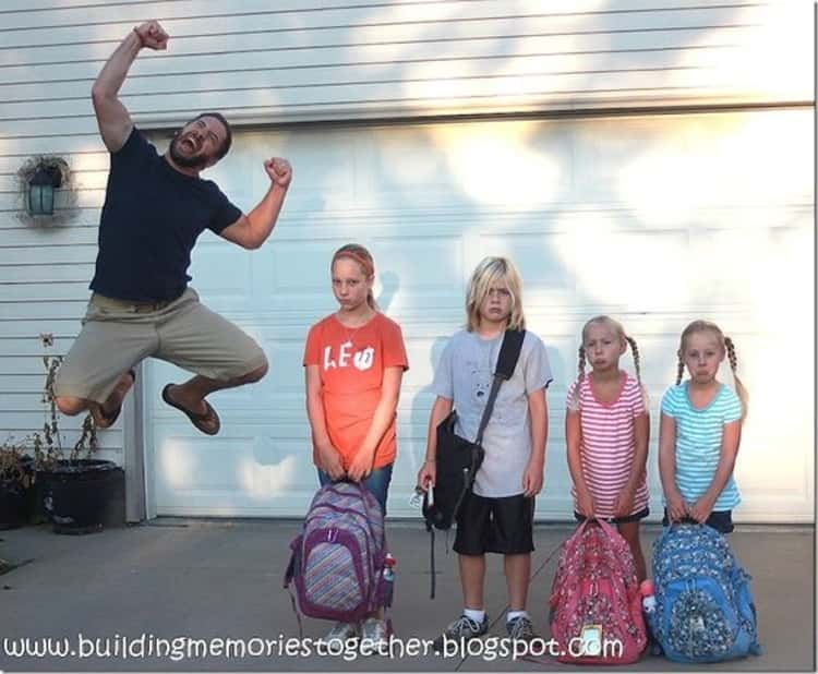 back to school photo ideas - ad jumping for joy while the kids stand there unhappy to go back to school