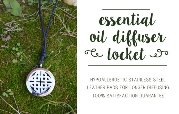 """Genius essential oils tips and tricks - image of an essential oil diffuser necklace with the words """"essential oil diffuser locket - hypoallergenic stainless steel leather pads for longer diffusing 100% satisfaction guarantee"""""""