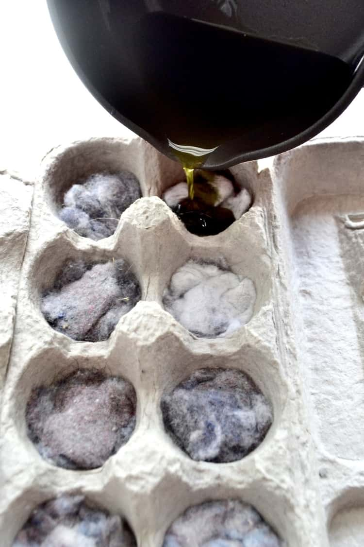 Egg carton filled with lint and wax for use as a fire starter