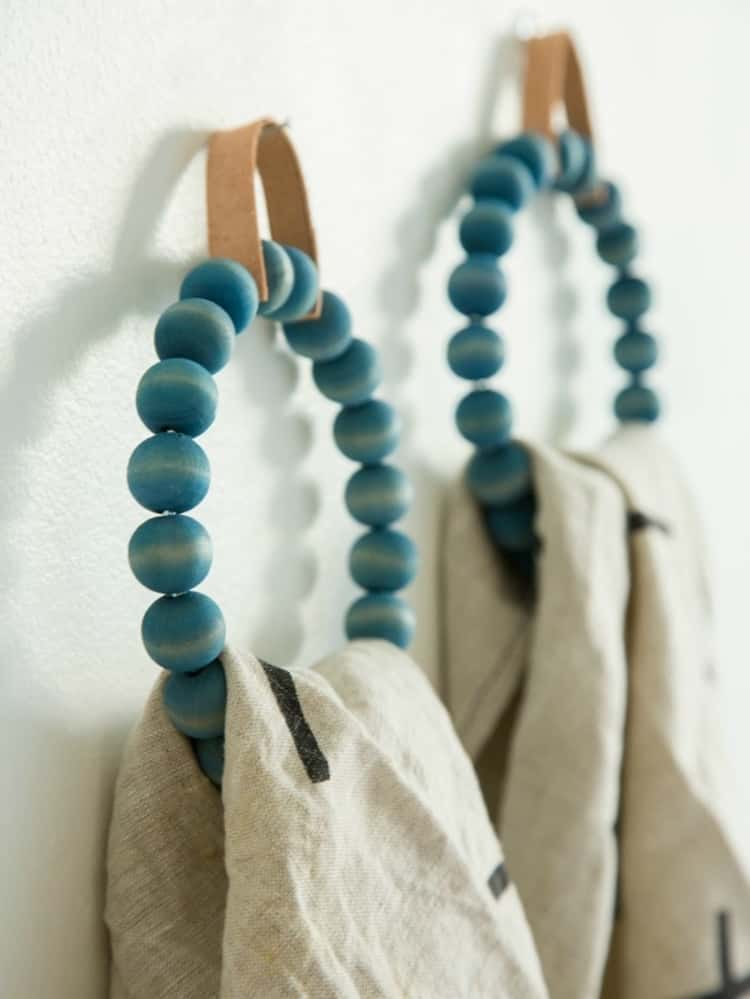 Towel rings wrapped in beads