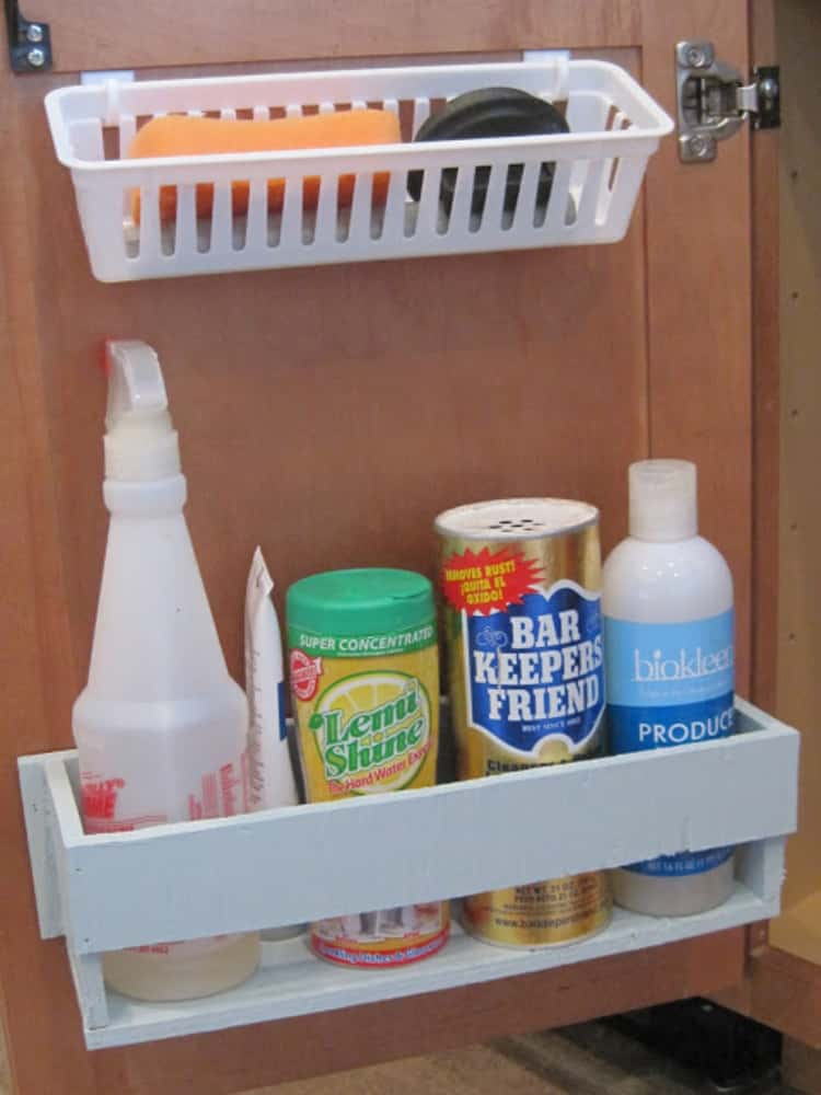 Door mounted caddies for the under-the-sink cabinet